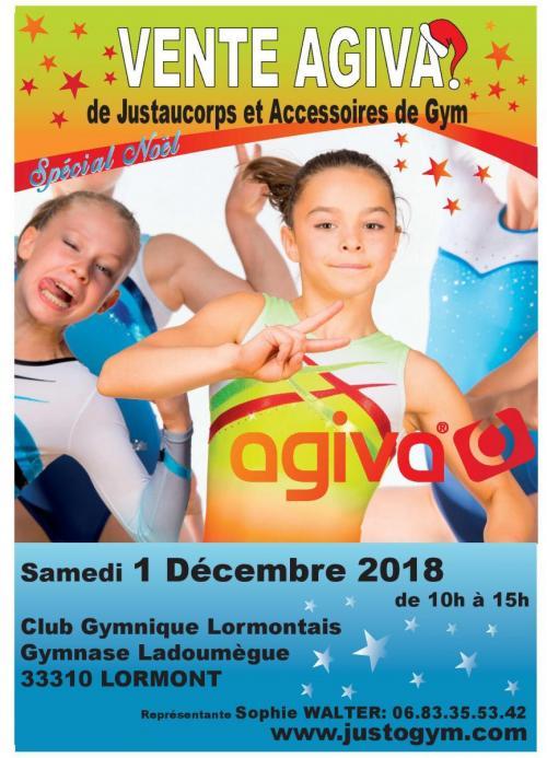 Agiva sera a la nouvelle salle de gym (gymnase Ladoumègue) pour une vente le  samedi 1er décembre 2018. efe45da3a22
